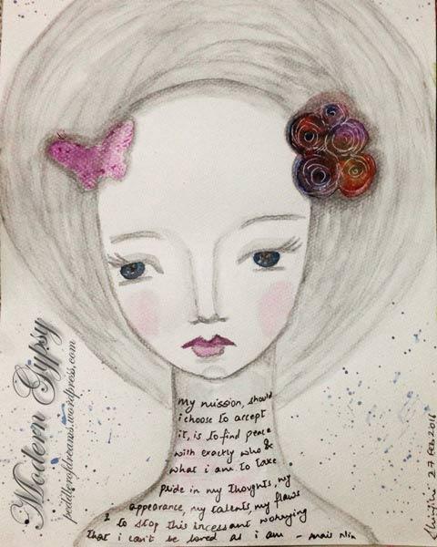 Monocromatic art journal page