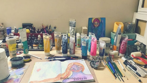 my creatively messy art table