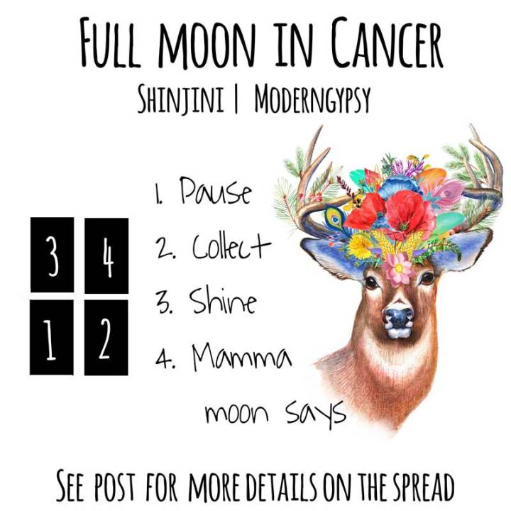 Tarot spread and journaling questions or the January 2020 full moon in Cancer