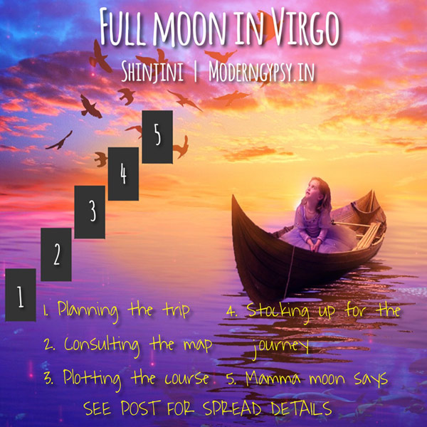 Tarot spread and journaling questions or the March 2020 full moon in Virgo