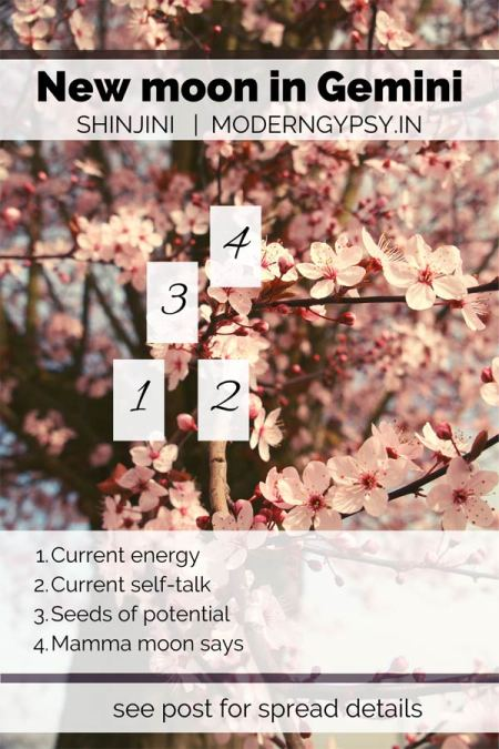 Tarot spread and journaling questions for the May 2020 new moon in Gemini