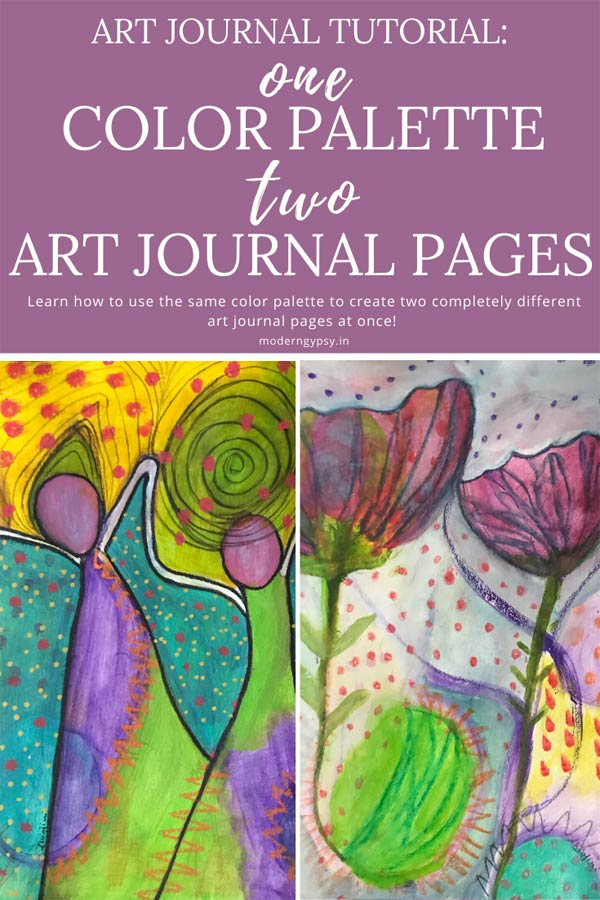 Art journal technique use one color palette to paint two art journal pages