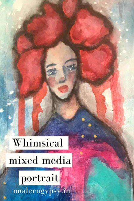 Art journal tutorial for beginners! Join me in my studio as I show you how to create this easy  whimsical mixed media portrait using simple + limited supplies.