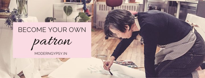 Image of an artist painting on the floor of her studio. Text reads Become your own patron