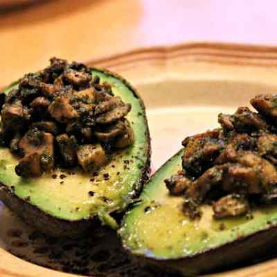 Meatless Monday: Pestoed Mushroom-Stuffed Baked Avocados