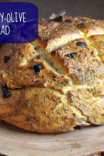 Vegan Rosemary Olive French Bread