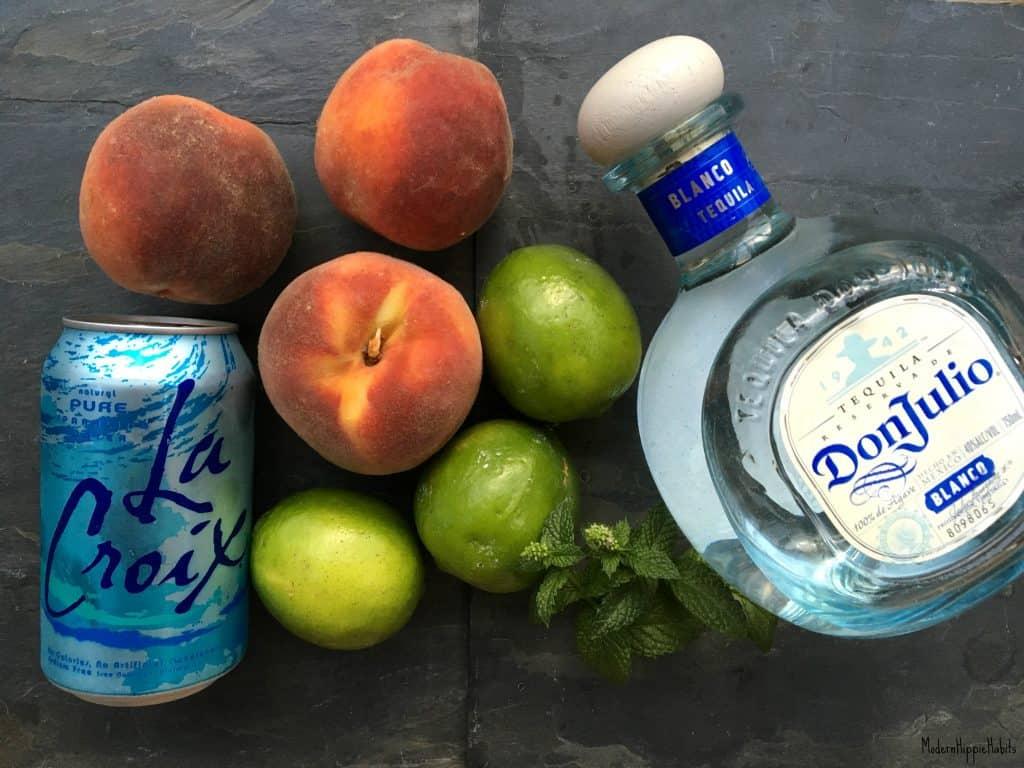 Peach Tequila Spritzer Cocktail Recipe Ingredients