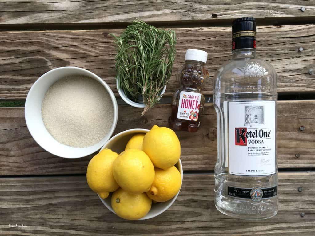 Spiked Rosemary Honey Lemonade