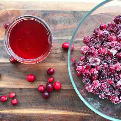 Sugared Cranberries and Cranberry Simple Syrup