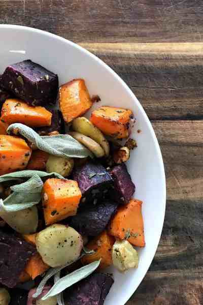 Simple Roasted Root Vegetables with Sage and Sunchoke