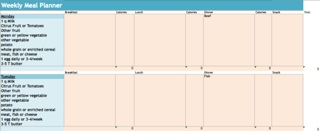 Weekly Menu Planner-Excel