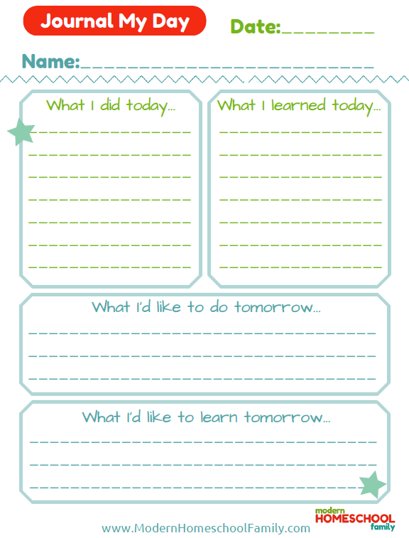 Free Printable Daily Homeschool Journal