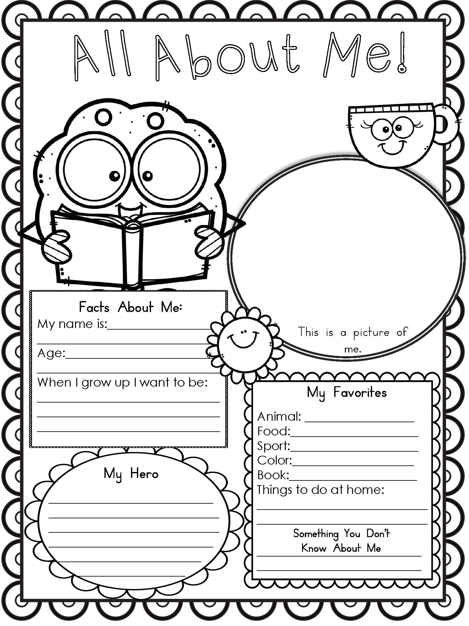 Best All About Me Free Printable Worksheet