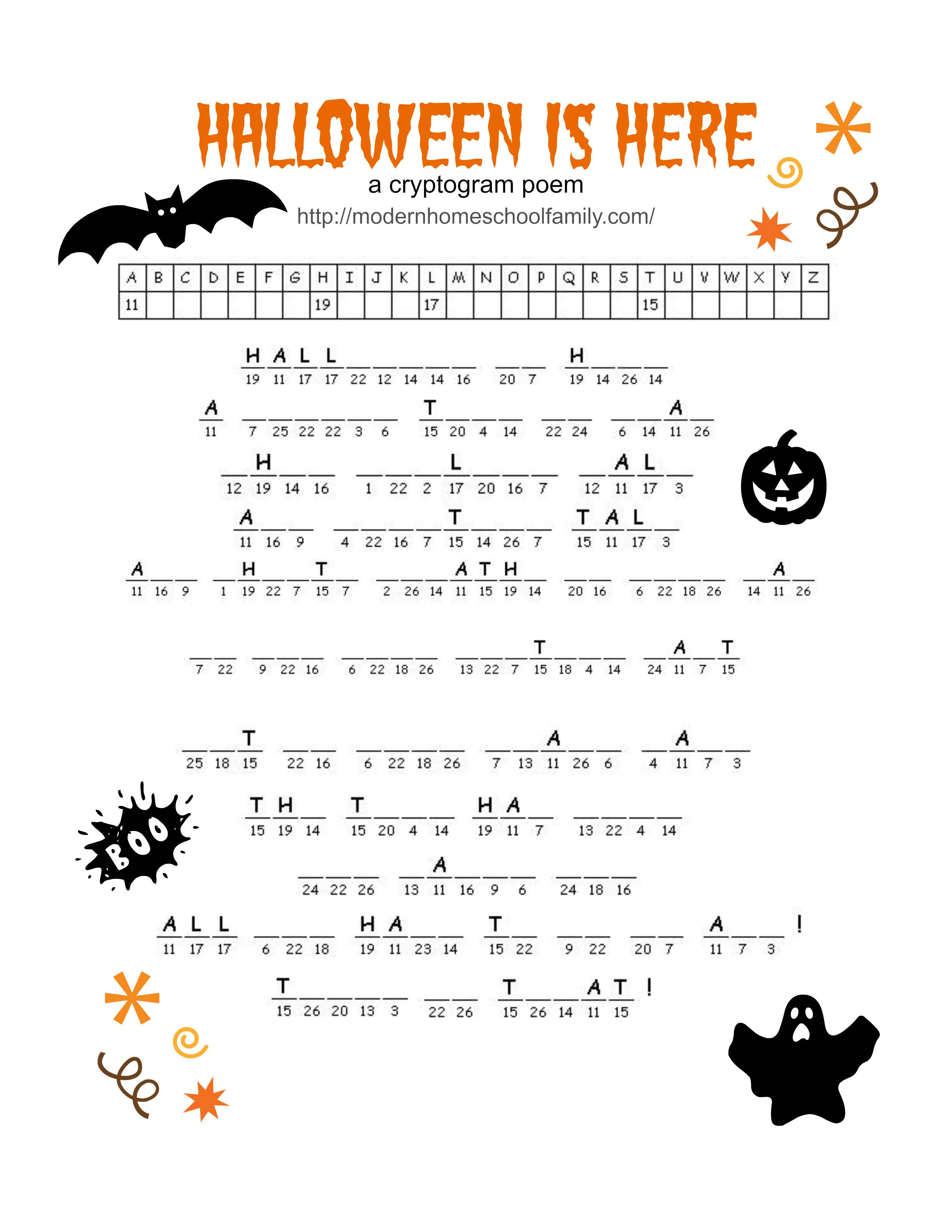 Halloween Fun Worksheet Middle School