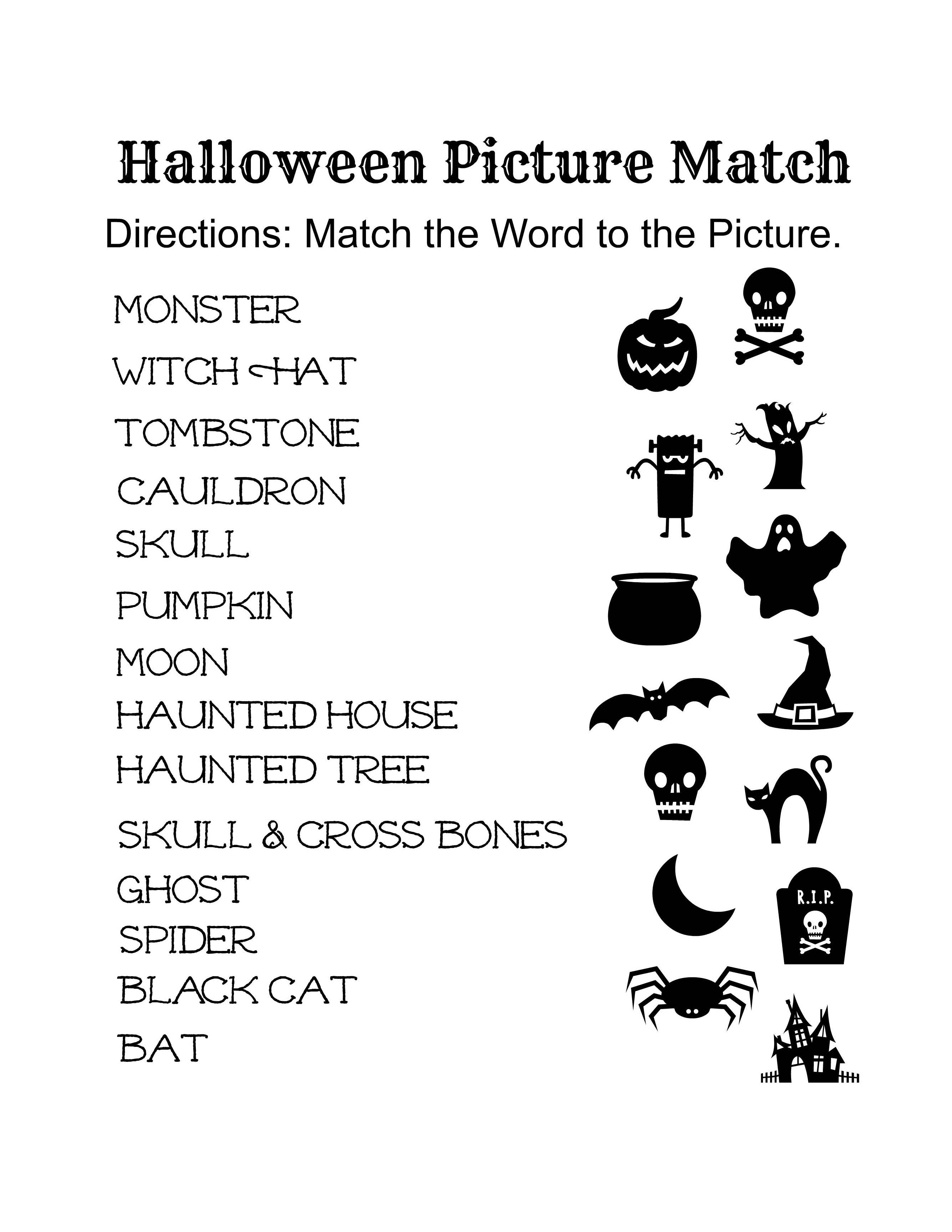 Free Printable Halloween Activity Sheets For Elementary Grades