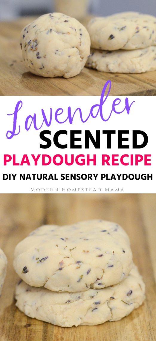 Lavender Scented Playdough Recipe (DIY Sensory Playdough)   Modern Homestead Mama
