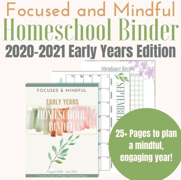 Early Years Homeschool Binder 2020-2021
