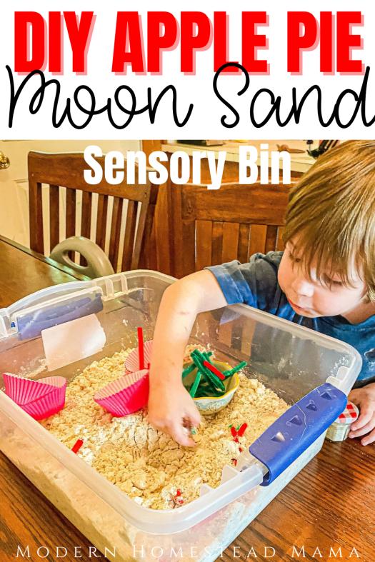 DIY Apple Pie Moon Sand Sensory Bin | Modern Homestead Mama