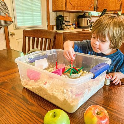 DIY Apple Pie Moon Sand Sensory Bin