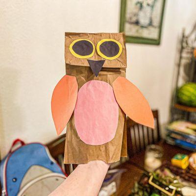 Owl Paper Bag Puppet Craft for Kids