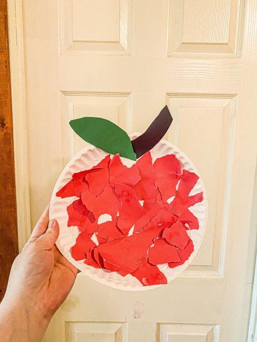 Paper Plate Apple Craft (Cut, Tear, and Glue)