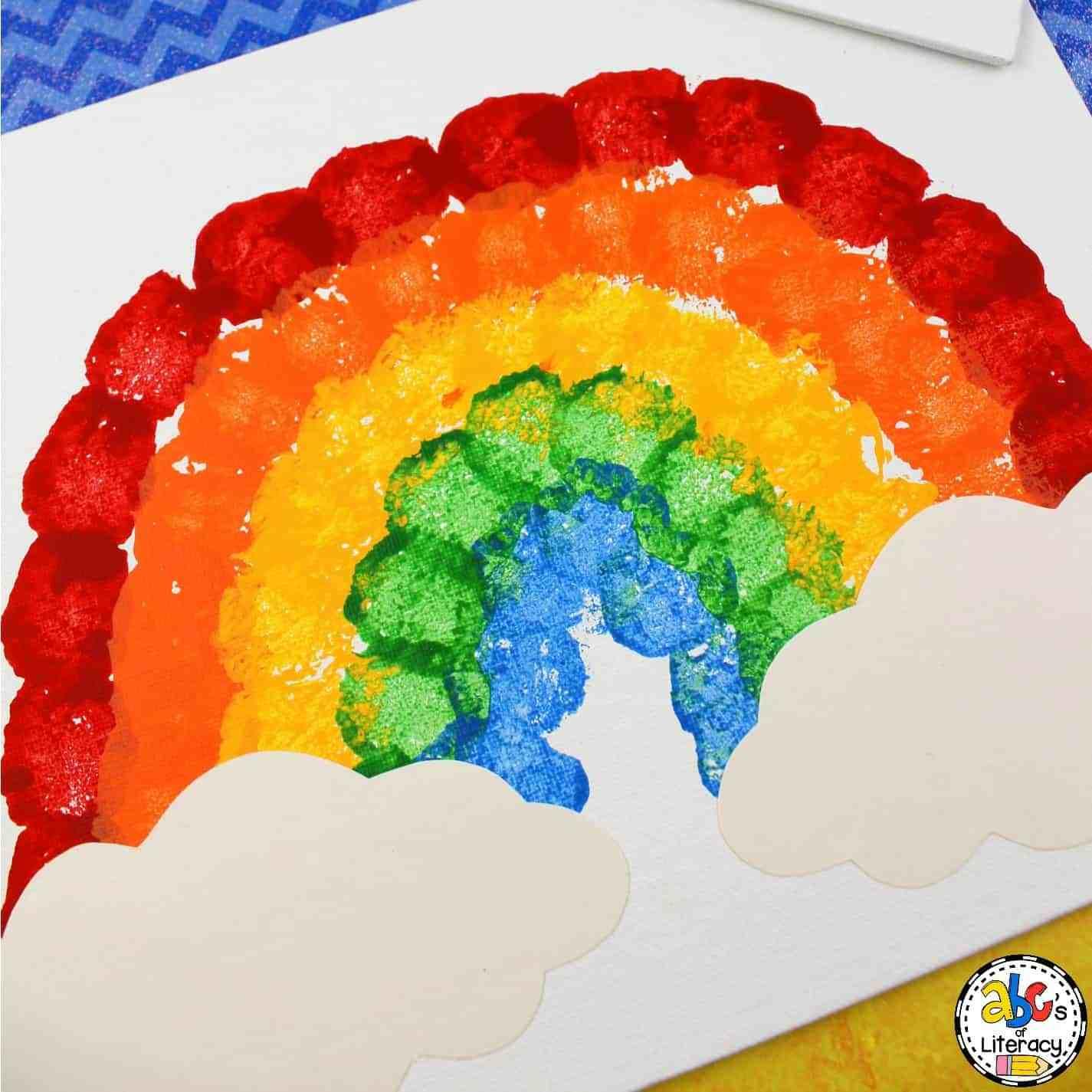 Rainbow Cotton Ball Rainbow Painting