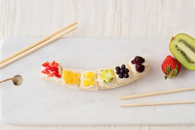 Rainbow Fruit Banana Sushi