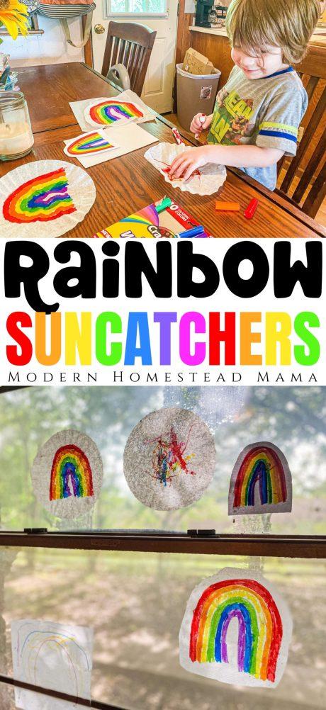 Easy Rainbow Suncatchers Craft | Modern Homestead Mama