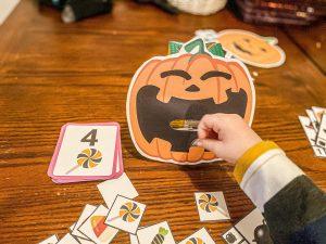 Feed the Jack-o-Lantern Halloween Math Game Free Printable