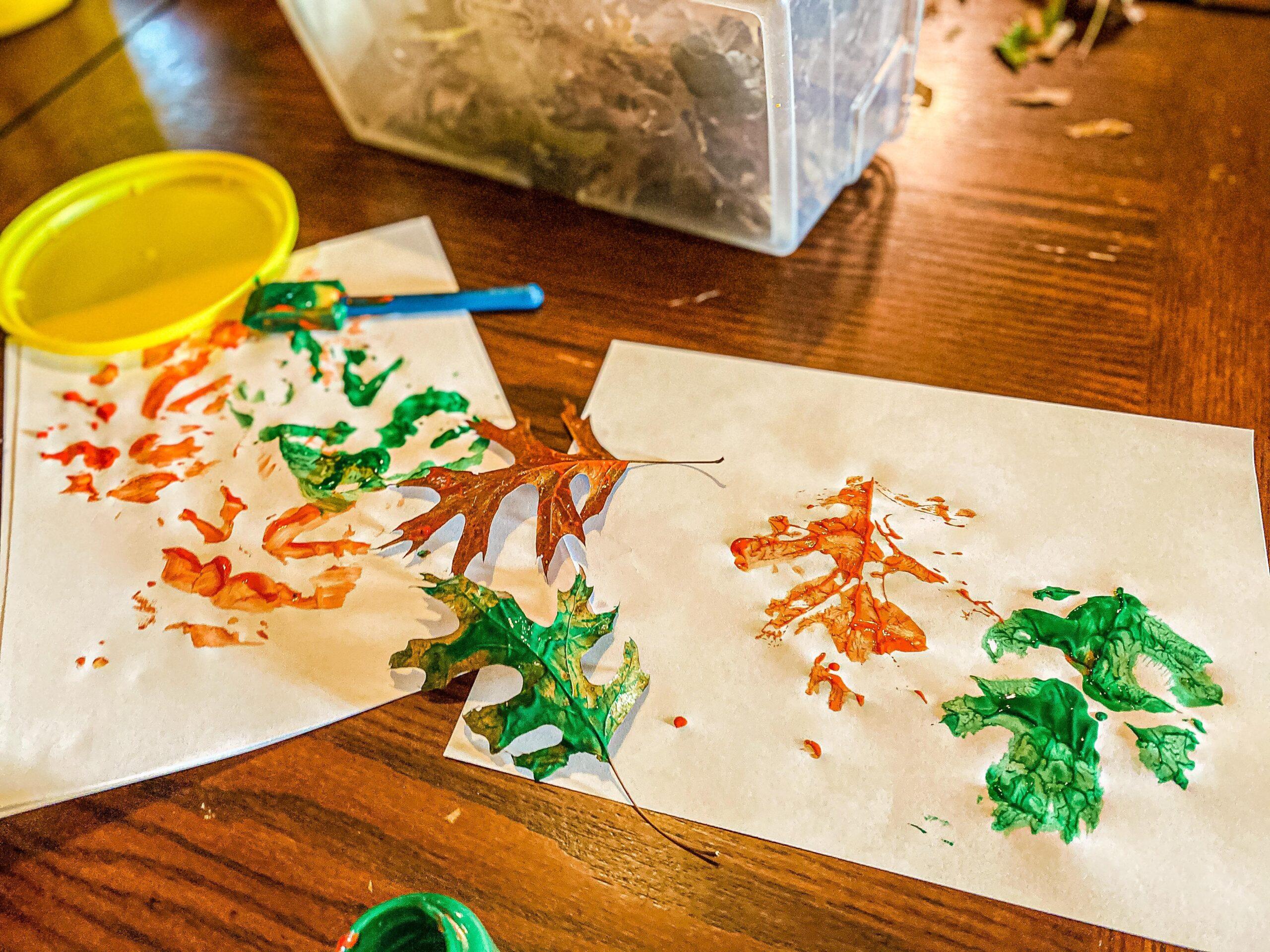 Painted Fall Leaf Imprint Art