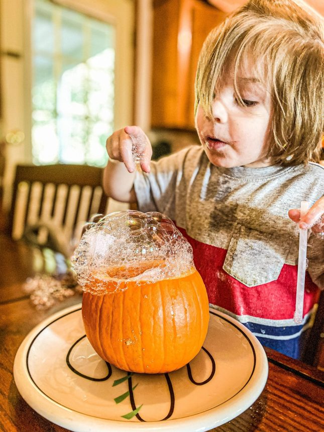 Pumpkin Bubbles Science Experiment for Preschoolers