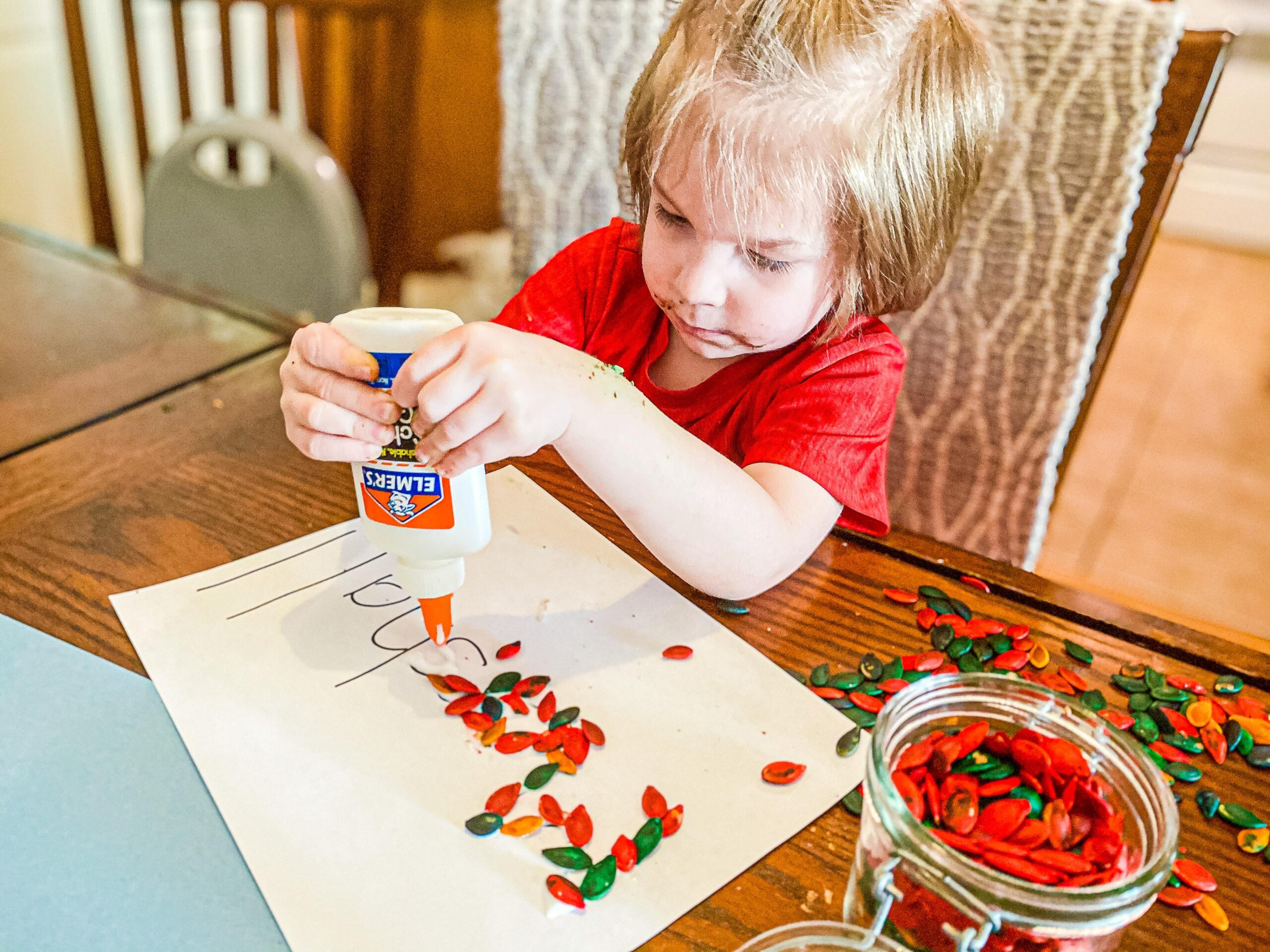 Pumpkin Seed Name Craft for Preschoolers