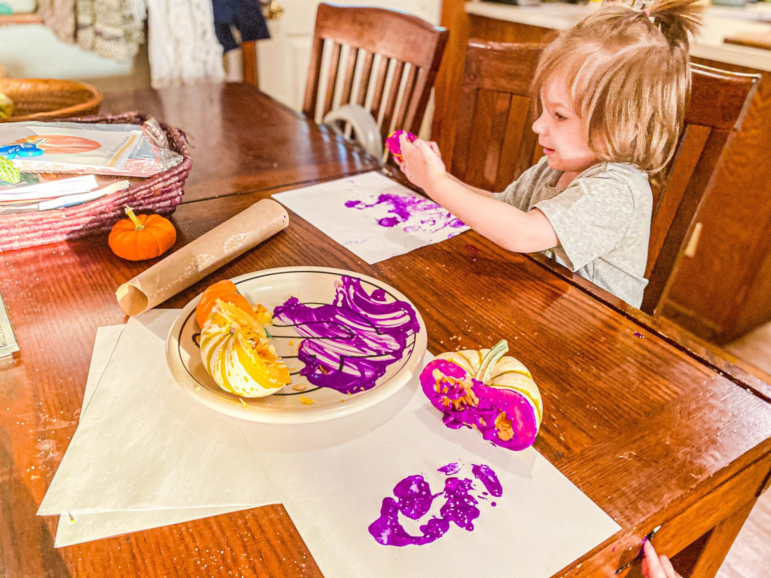 Pumpkin Stamping Art for Toddlers & Preschoolers