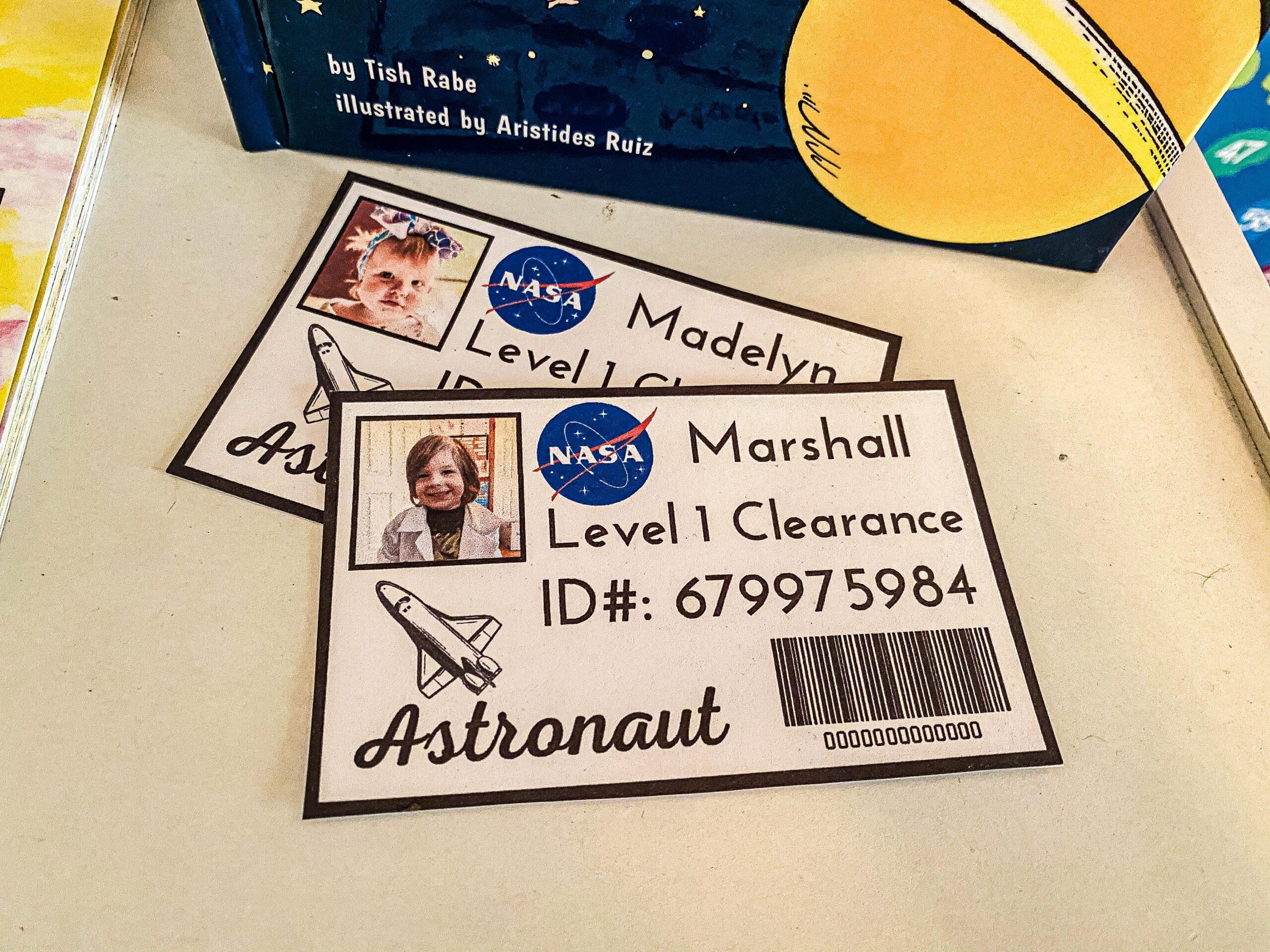 Astronaut Dramatic Play Bundle NASA ID Play Pretend Printable