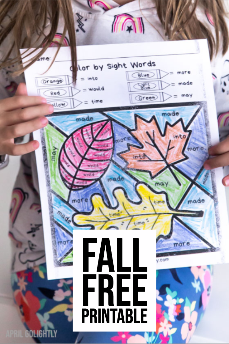 Fall Leaves Sight Word Coloring Printable