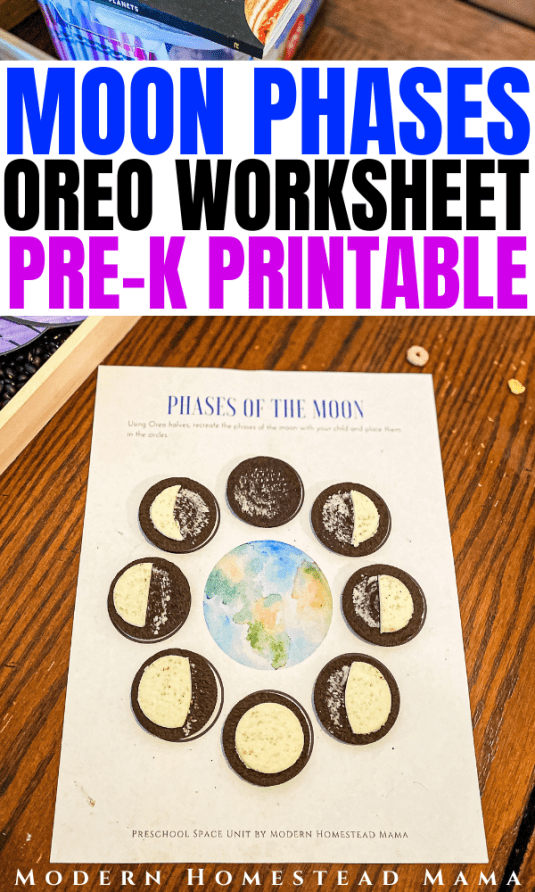 Moon Phases Oreo Worksheet for Preschoolers | Modern Homestead Mama