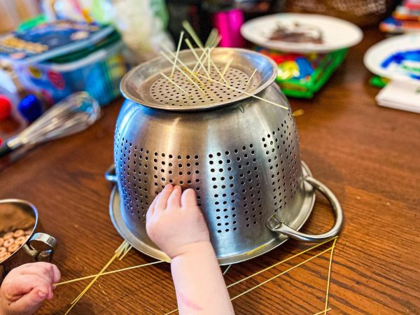 Noodle Colander Fine Motor Activity for Toddlers