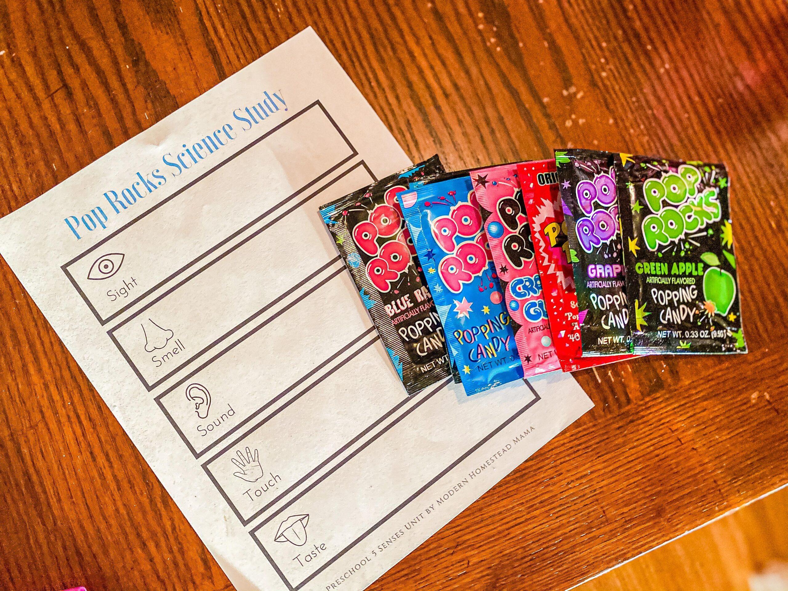 Pop Rocks Science Study + Printable Worksheet for Kids