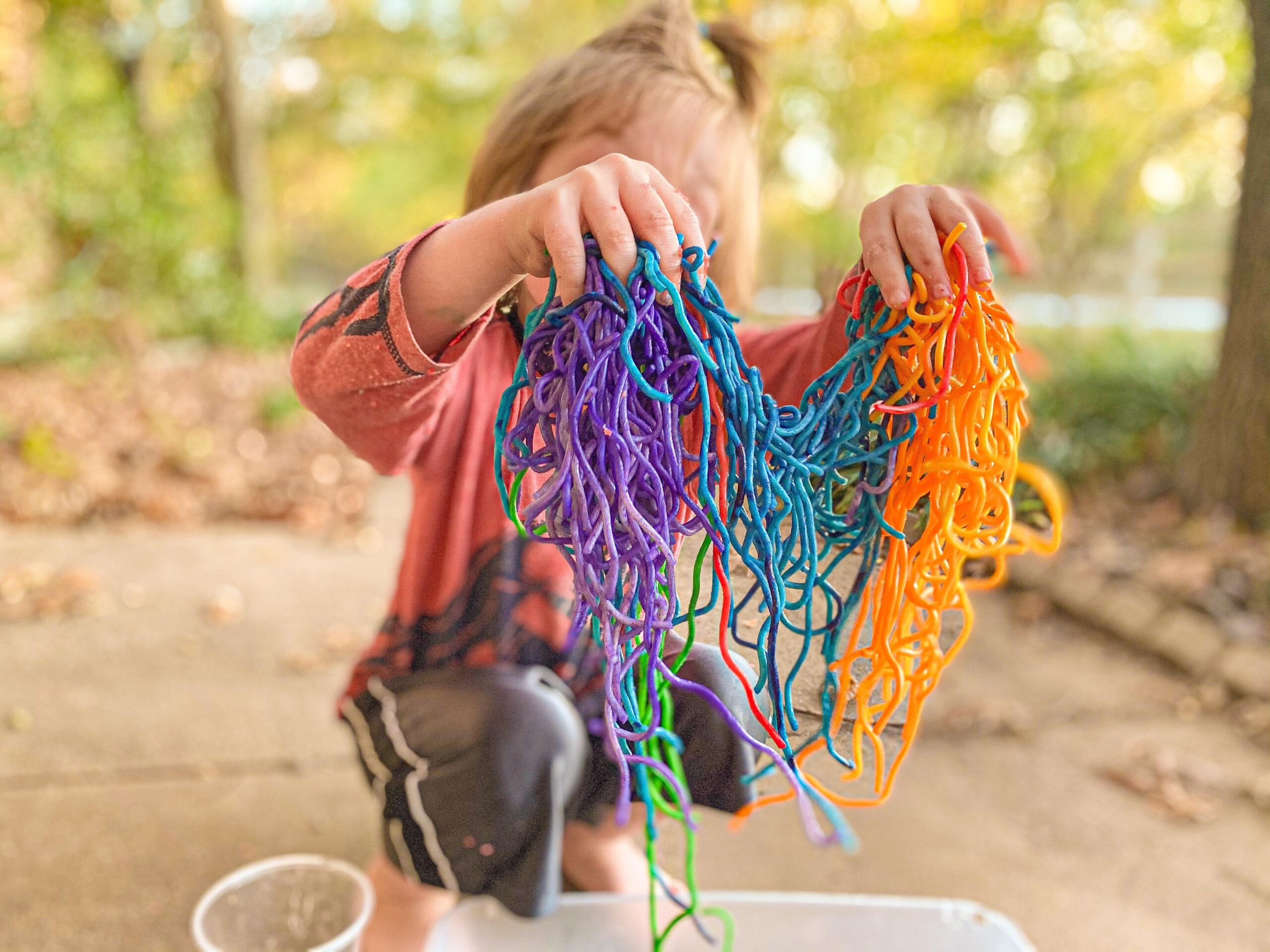 Rainbow Spaghetti Noodles for Sensory Play