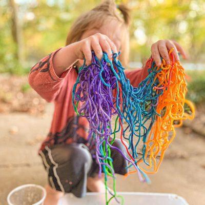 Rainbow Spaghetti Noodles for Sensory Play