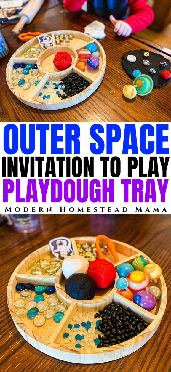 Space Playdough Invitation to Play Tray   Modern Homestead Mama