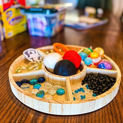 Space Playdough Invitation to Play Tray