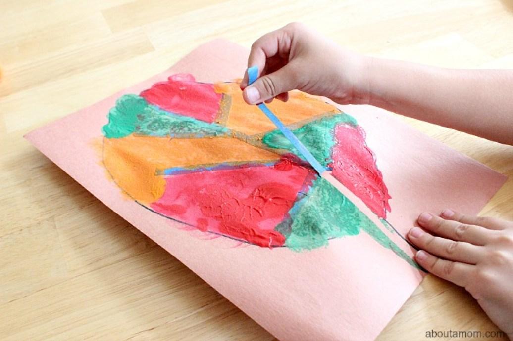 Tape Resist Leaf Painting