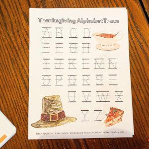 Thanksgiving Alphabet Trace Worksheet
