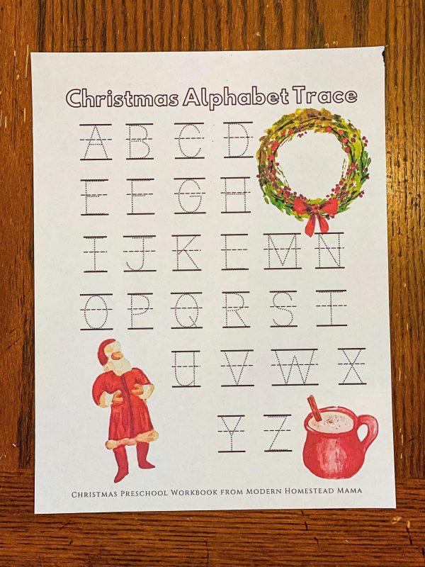 Christmas Alphabet Trace Worksheet
