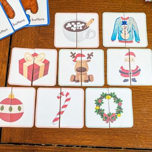 Christmas Symmetry Matching Game Cards