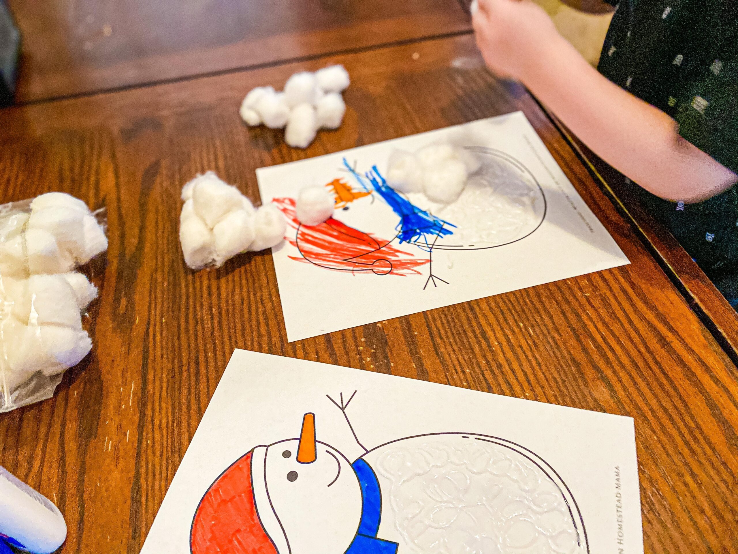 Cotton Ball Snowman Winter Craft for Toddlers & Preschoolers