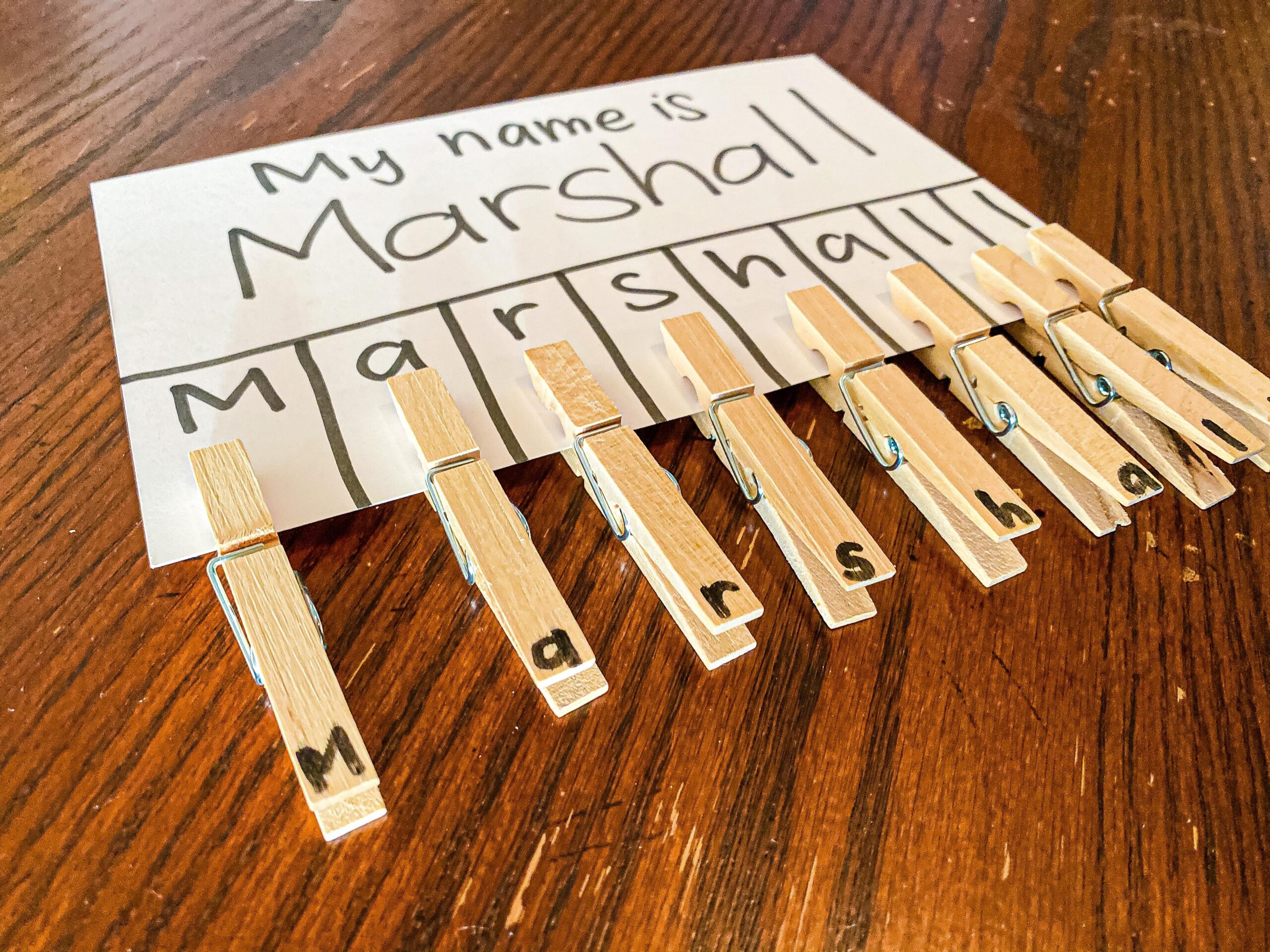 Name Recognition Clothespin Clip Activity for Preschoolers