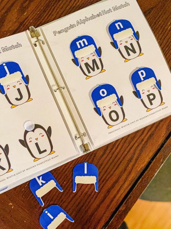 Penguin Winter Hat Alphabet Match Busy Binder Printable