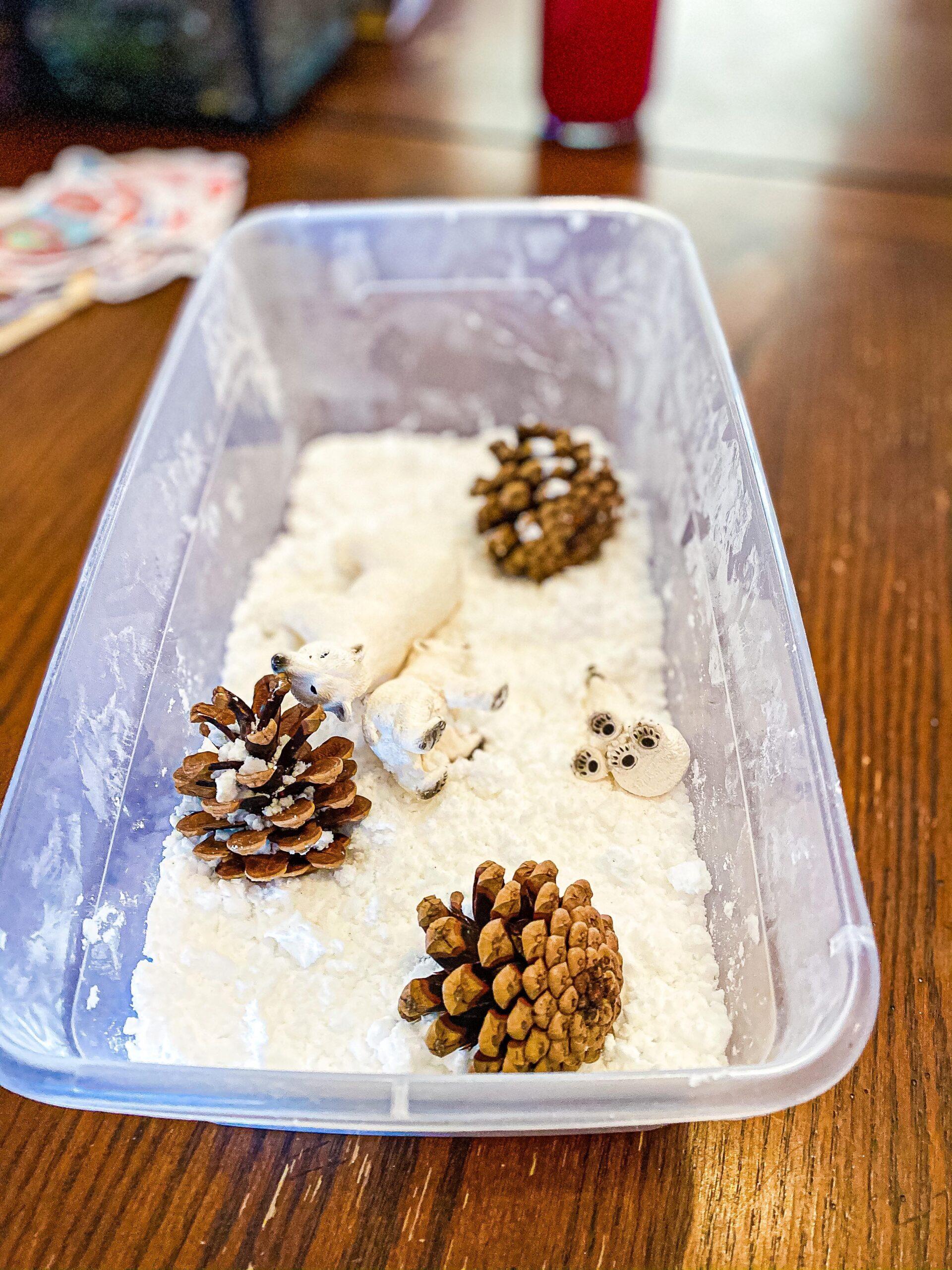 Easy 2-Ingredient Pretend Snow Sensory Bin